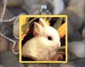 BABY BUNNY Rabbit Easter Spring Daffodil Glass Tile Pendant Necklace Keyring
