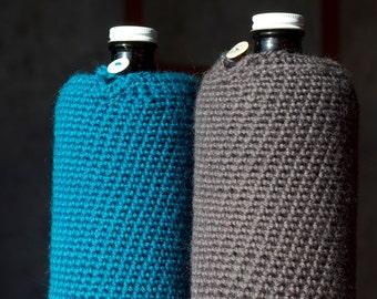 32 oz Growlette Cozy in Poseidon Blue Wool