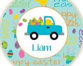 Custom Personalized Easter Chick Driving Egg Truck Melamine Plate