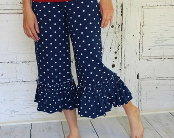 Nautical Navy and white Polka dot Willow Ruffle Capri  Pants by GreenStyle in Teen and Women's Sizes
