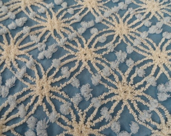 Blue Chenille with White Cabin Crafts Needletuft and Blue Pops Vintage Chenille Bedspread Fabric...12  x 22""