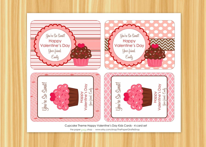 Cupcake Valentine Card for Kids Valentines Day Classroom – Cupcake Valentine Card
