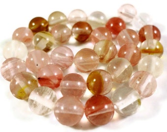 Watermelon Tourmaline Quartz Gemstone Beads 6mm Round Stone Beads, Multicolor Quartz Beads on a 7 1/2 Inch Strand with 30 Beads
