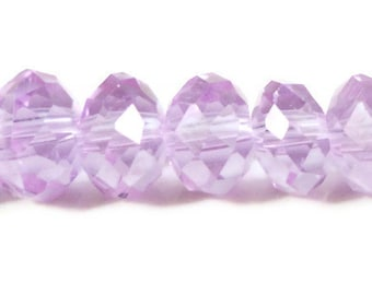 Alexandrite Crystal Beads 8x6mm (6x8mm)Light Purple Crystal Rondelle Beads, Chinese Crystal Glass Beads on an 8 Inch Strand with 35 Beads