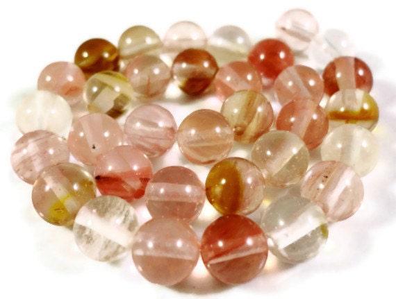 Watermelon Tourmaline Quartz Gemstone Beads 6mm Round Stone Beads, Multicolor Quartz Beads on a 7 1/2 Inch Strand with 30 Beads