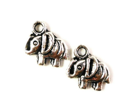 Silver Elephant Charms 11x11mm Antique Silver Tone Metal Small Elephant Pendants Animal Charms Jewelry Making Findings Craft Supplies 10pcs
