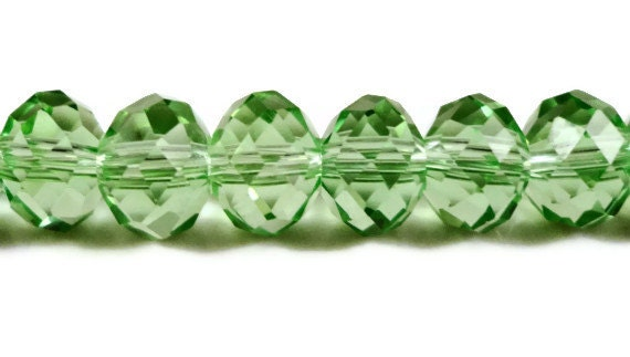 Green Rondelle Crystal Beads 8x6mm (6x8mm) Peridot Green Faceted Chinese Crystal Glass Abacus Beads on an 8 Inch Strand with 36 Beads
