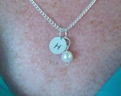 Sterling Silver Hand-stamped Initial Necklace and Freshwater Pearl