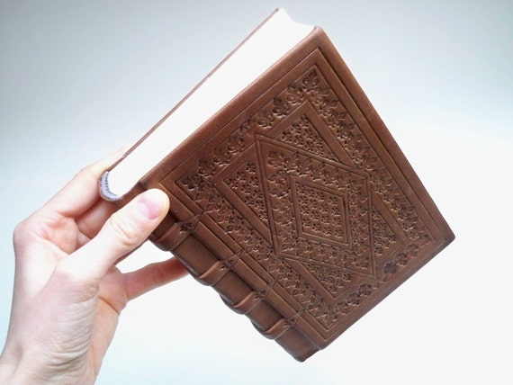 Leather Book : Medieval style leather binding - Valentine's day gift for him