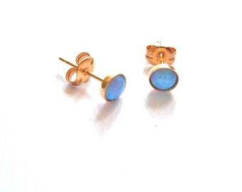 Tiny blue opal 14k gold filled studs 4mm