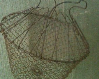 CRAZY PRICE ALERT- Vintage French Collapsible Wire Egg Basket