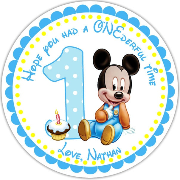 Baby mickey personalized stickers party favor by sharenmoments - Stickers muraux repositionnables bebe ...