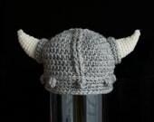 Viking Hat, Warrior Hat, Battle Hat, Nordic Hat, Crochet Baby Hat, photo prop, grey