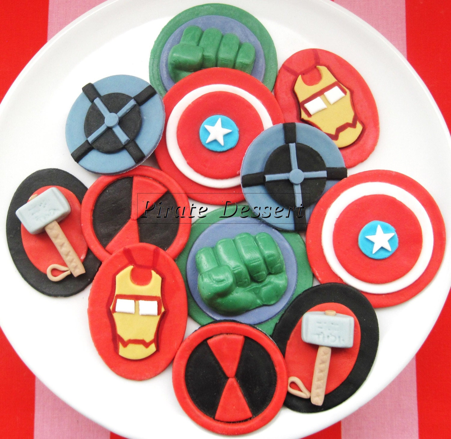 The AVENGERS Edible SUPERHERO Cupcake Toppers by PirateDessert