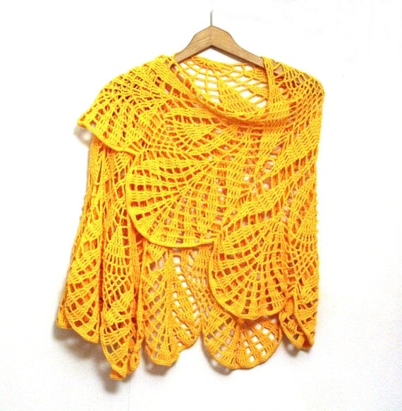 Crochet Shawl Bright Sunny Yellow, Large Floral Pattern