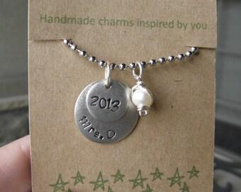 Teacher Retirement Necklace, gift
