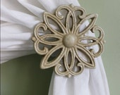 Metal Curtain Tie Back Set, Tiebacks, Holdbacks, Beige, Cottage Chic