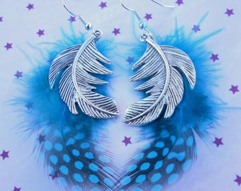 Turquoise and Silver Feather Earrings Earhooks