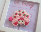 Embroidered Felt Strawberry Shortcake Hair Clip