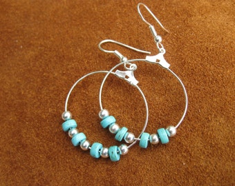 Turquoise and silver hoop earrings