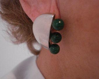 Vintage Modernist Silver Avant Garde 1 Inch Half Moon Post Earrings w Malachite Beads - Verticle Style - Award Winning Fine Jewelry Designer