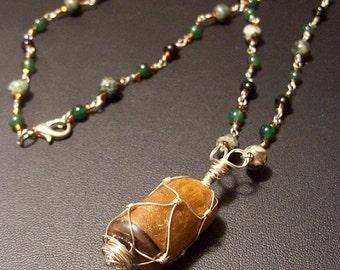 Wire Wrapped Tiger Eye with Gemstone Chain Kambaba Jasper Green Quartz and Black Obsidian
