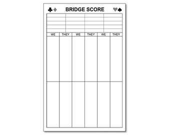 "Large Bridge Score Pad 5.5"" x 8.5"" with 50 Sheets Black"