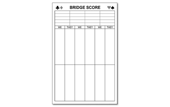 Large Bridge Score Pad  X  With  Sheets
