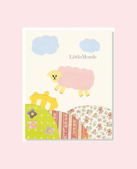 Wall Decor For A Baby Girl Nursery : Baby girl nursery prints wall decor sheep