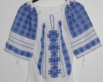 Romanian peasant blouse with blue embroidery