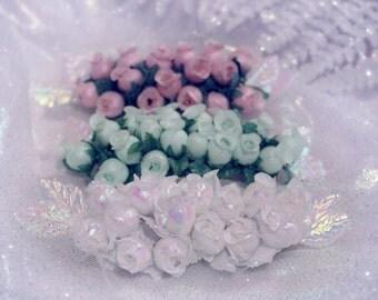 Winter Fairytale Rosebud Barrette (Small)