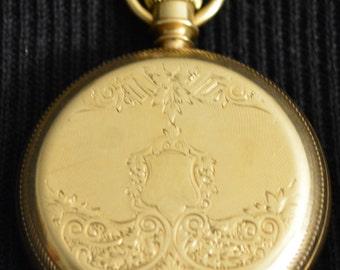 Antique Elgin BW Raymond Pocket Watch 14K Gold Hunters Case
