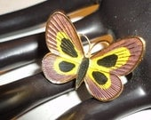 enamel gold tone butterfly brooch/pin