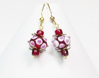 Red Lamp Work Earrings, Polka Dot Earrings, Dangle Red Earrings, Red Earrings