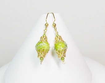 Faceted Lamp Work Earrings, Lime Green Earrings, Lamp Work Earrings, Green Earrings