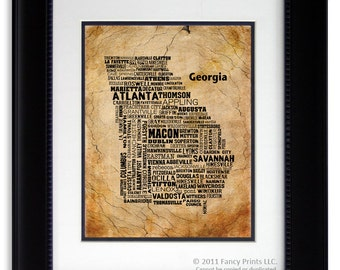 Custom Housewarming Gift Idea Fathers Day gift GEORGIA State Historical Poster - Unique Vintage Wall Decor Vintage Wall Art
