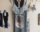 upcycled striped kitten dress