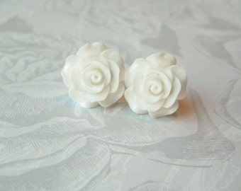 New Large White Rose Earrings