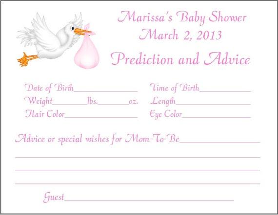 24 stork prediction advice cards baby shower. Black Bedroom Furniture Sets. Home Design Ideas
