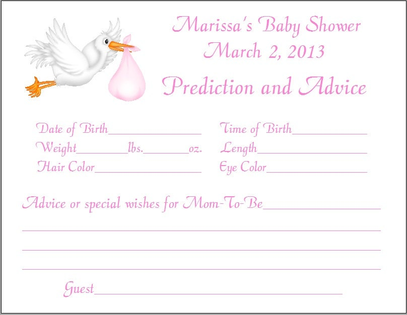 24 stork prediction advice cards baby shower