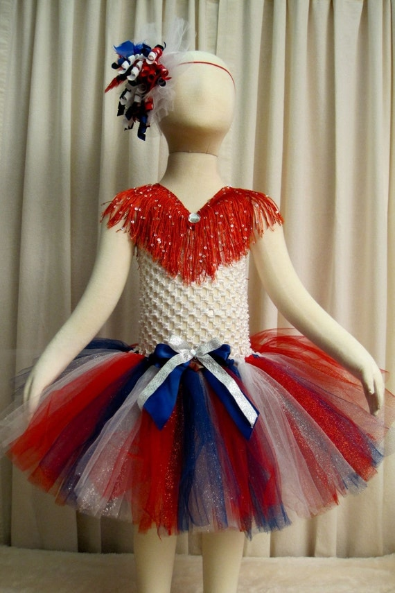 Pageant Sparkly Patriotic Tutu Dress 4th Of July Tutu Dress