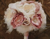 Custom Fabric Flower Bridal Bouquet Dusty Pink, Blush, and Cream.   Vintage Brooches, Rhinestones, Pearls and