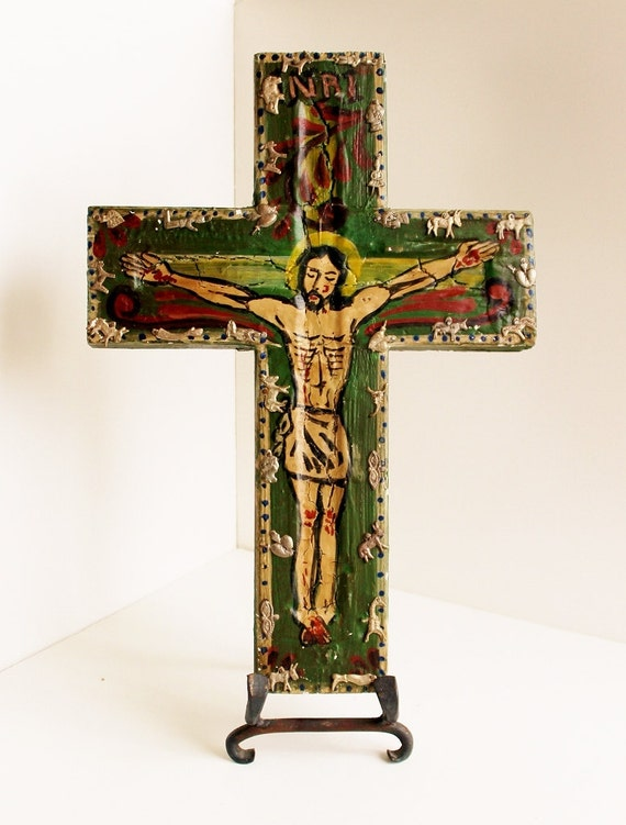 Vintage Mexican Jesus On Cross With Milagros Folk Art Hand