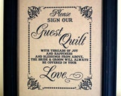 Please Sign Our Guest Quilt - Guest Book Alternative- Wedding Sign - Single Sheet (Style: QUILT)