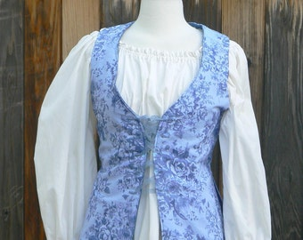 Colonial Long English Bodice Pirate Vest Waistcoat Floral 18th Century Historical Costume