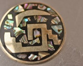Gorgeous VIntage Taxco Sterling and Abalone Brooch and Pendant