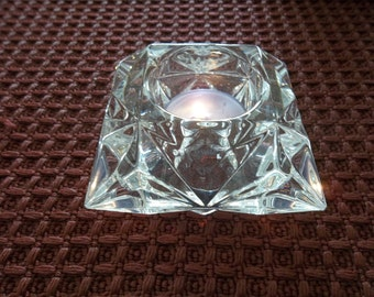Faceted Lead Glass Tealight Holder