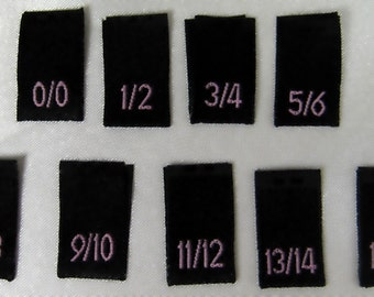 Mixed Lot of  100 pcs Black Woven Sewing Clothing Labels,  Size Tags - 0/0,1/2,3/4,5/6,7/8,9/10,11/12,13/14,15/16