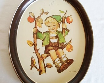 Vintage Hummel Apple Tree Boy Tin Tray Collectibles Wall Hanging Cottage Chic Ars Edition 1982 USA