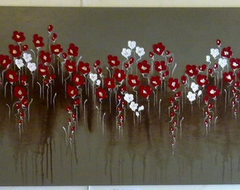 """Naomi Crowther HUGE painting """"Poppies with Chocolate Fondue"""" 3D petals dancing on espresso background 90x180cm."""